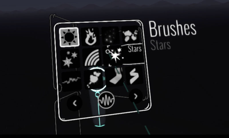 Brush Palette in Google Tilt Brush