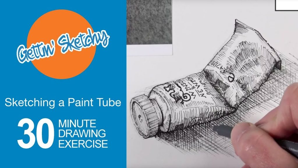 30 Minute Sketching Exercise - Paint Tube with Pen and Ink