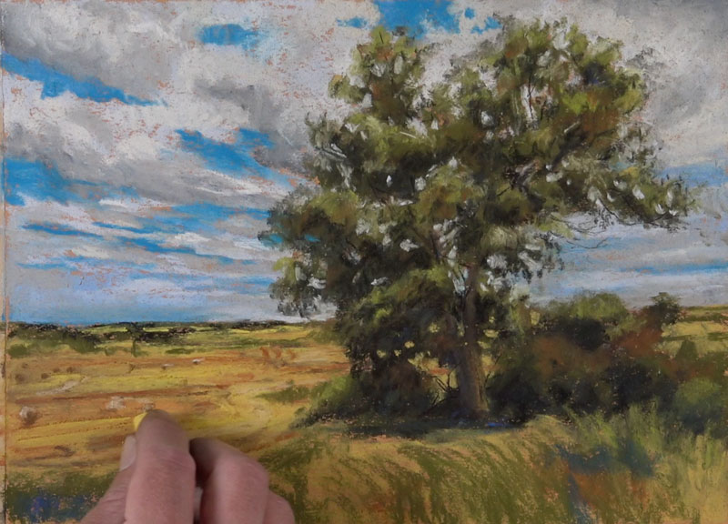 Painting the middle ground and distant field with pastels