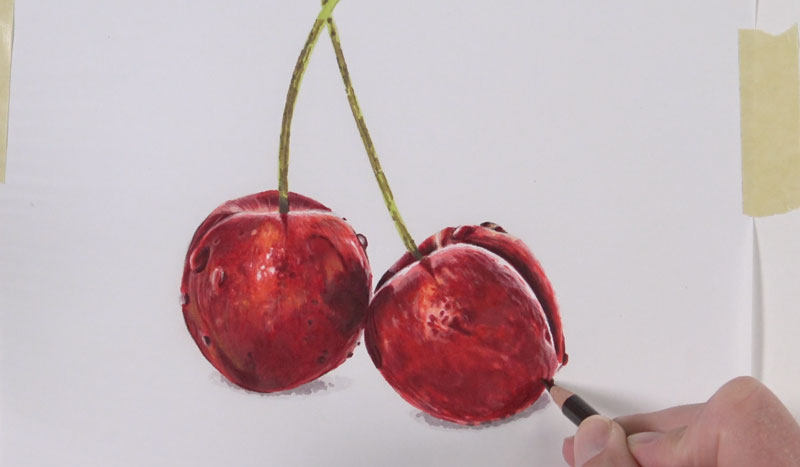 Drawing darker tones on the cherry