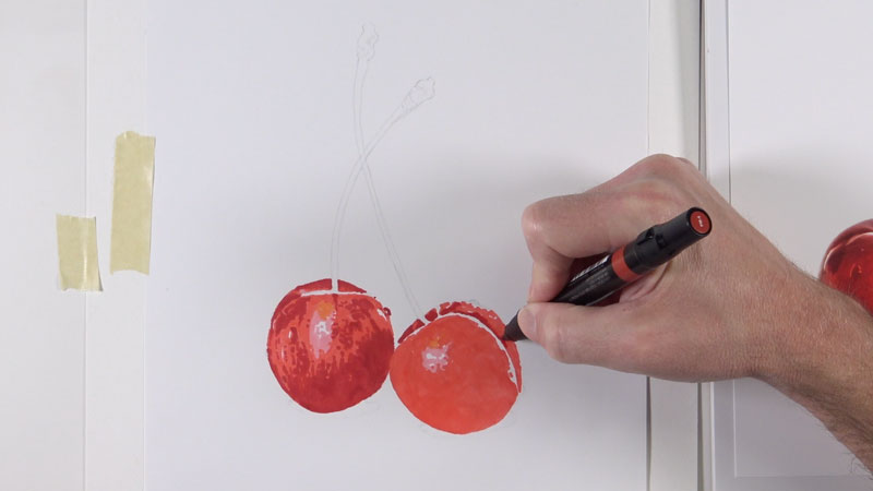 Drawing a cherry by creating a marker underpainting