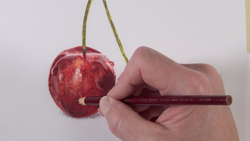 First colored pencil applications on the cherries
