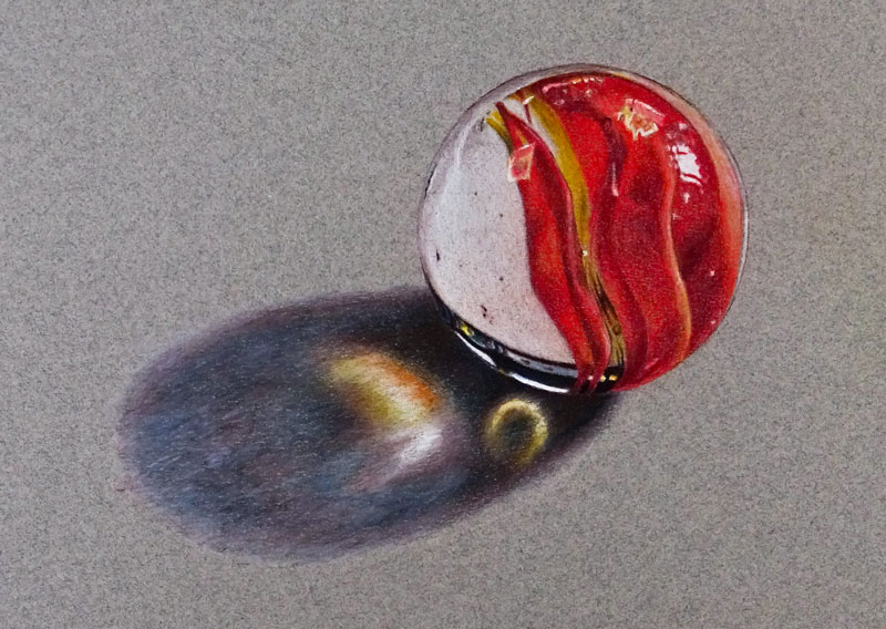 How to draw a realistic marble with colored pencils