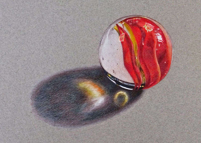Darken the cast shadow begind the marble with colored pencils