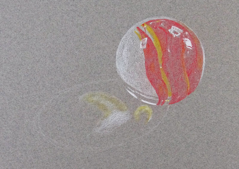 Layer initial colored pencil applications to the marble