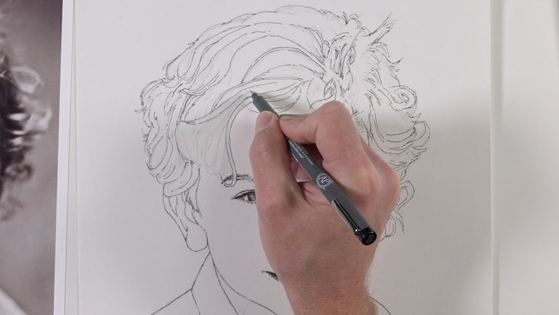 Drawing the contour lines for the hair