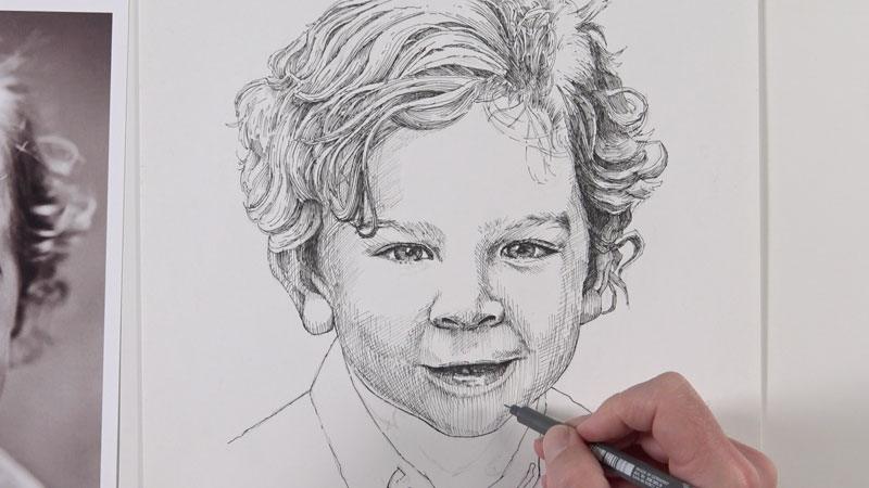 Adding shading to the face with hatching and cross hatching