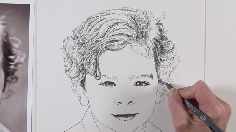 Drawing the texture of hair with pen and ink