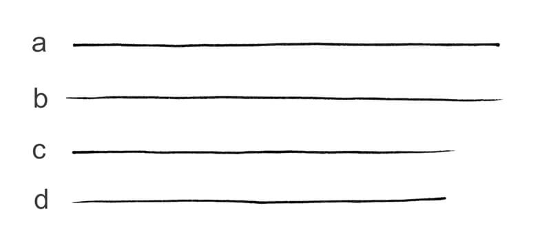 Lines with different ends and starts