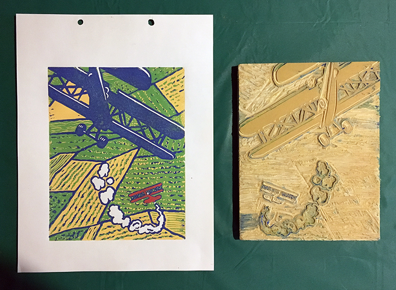 Reduction printmaking - adding darker colors