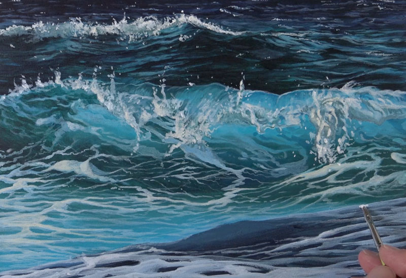 Painting the wave in the foreground