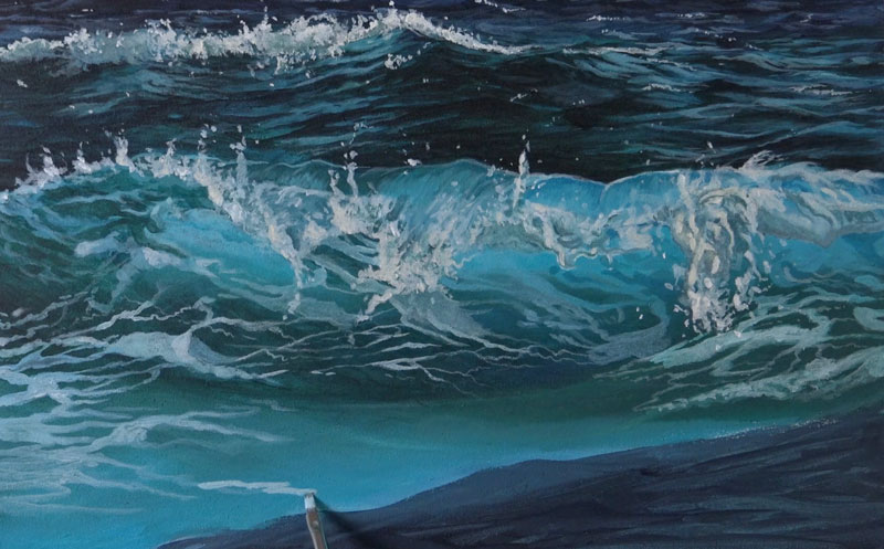 Painting sea foam