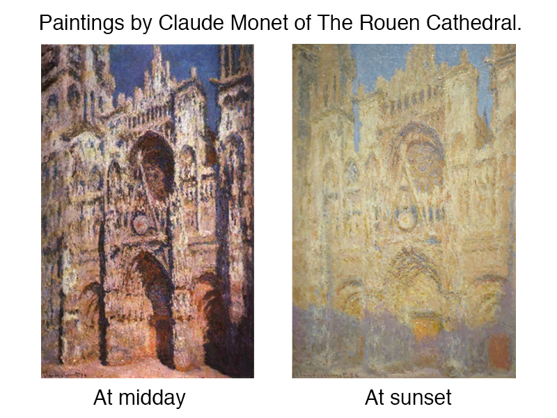 Monet paintings at different times during the day