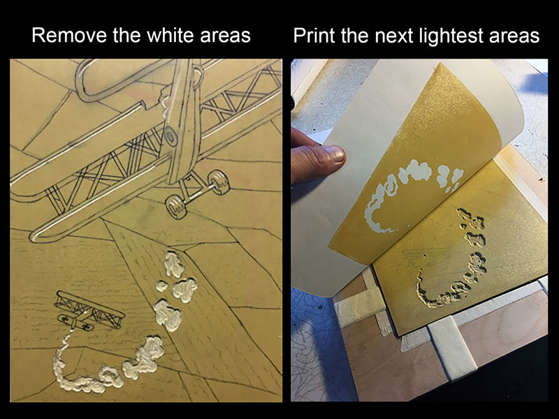 Printing lightest color - reduction printmaking