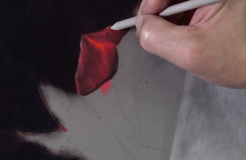 Increasing the shadows on the rose petal