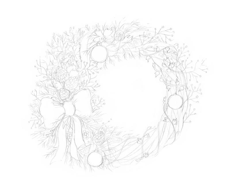 Completed pencil sketch of a Christmas wreath
