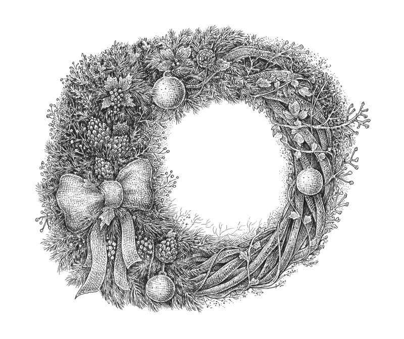 Pen and ink drawing of a Christmas wreath