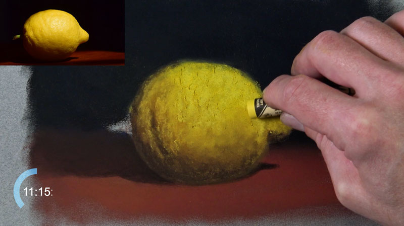 Drawing the lighter values on the lemon