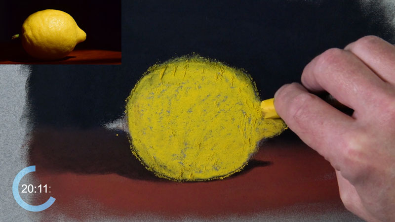Blocking in the color for the lemon