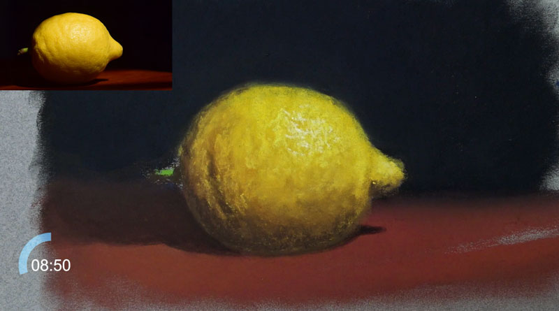 Drawing the stem on the lemon and adding highlights