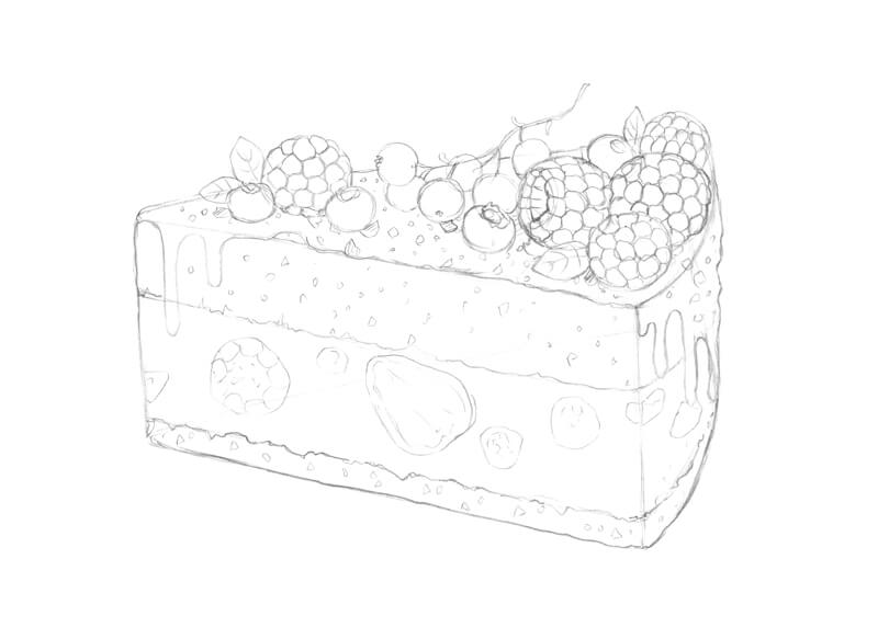 Finished pencil sketch of the piece of cake