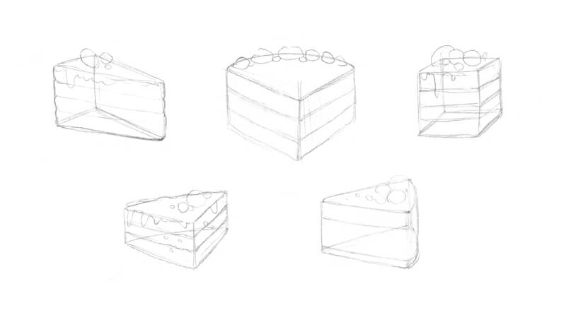 Sketches of a piece of cake