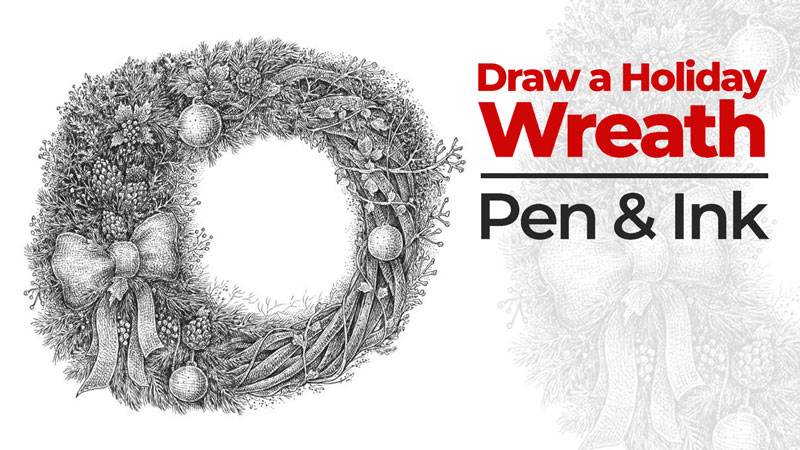 Draw a Christmas wreath with pen and ink