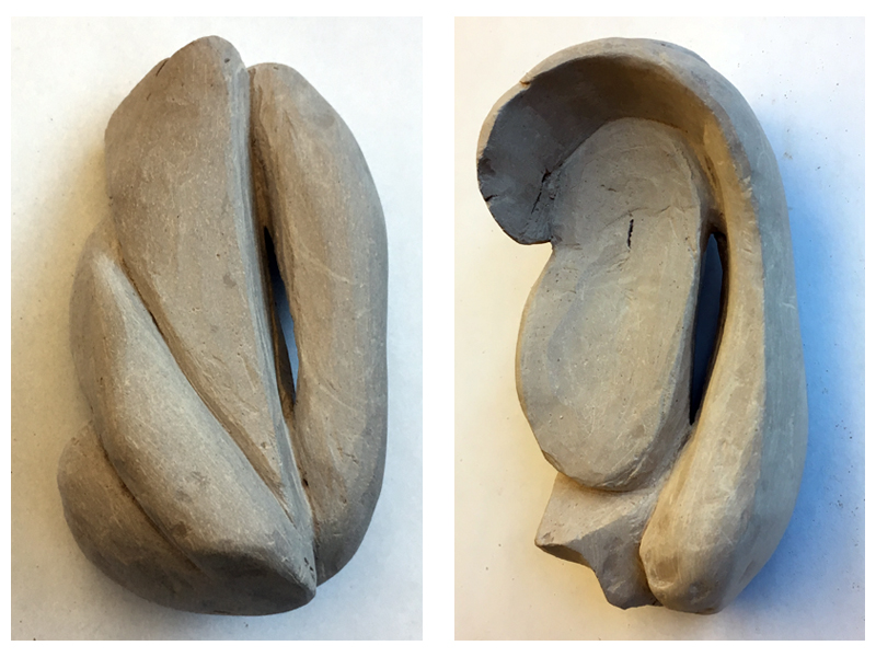 Carving clay to create a non-objective work of art