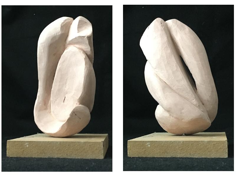 Clay sculpture before firing