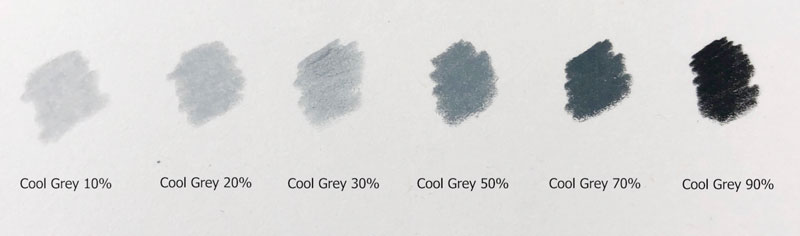 Cool grays with colored pencils
