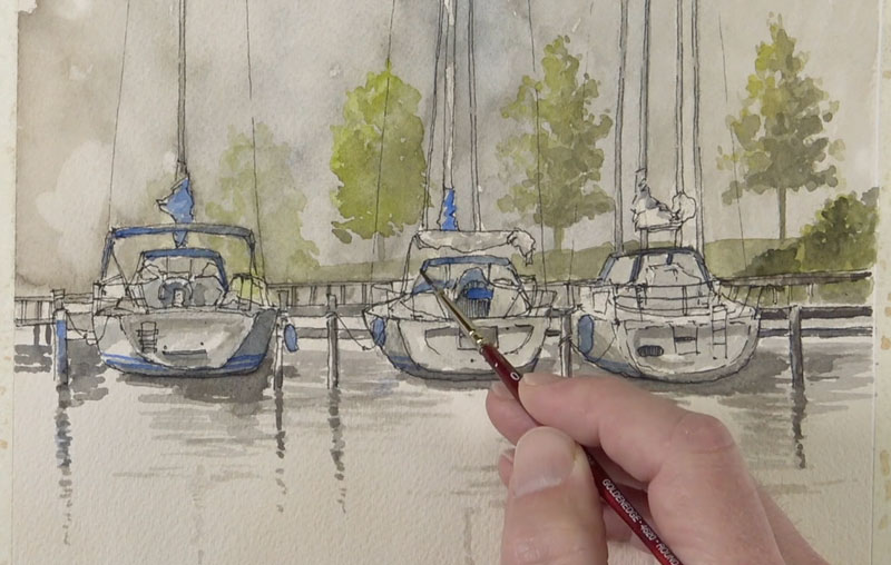 Adding watercolor to the boats