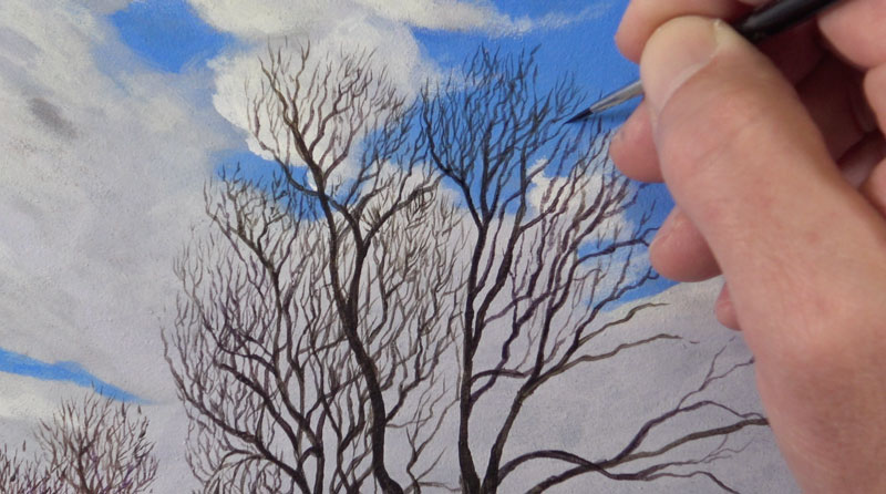 Painting tiny tree branches with acrylics