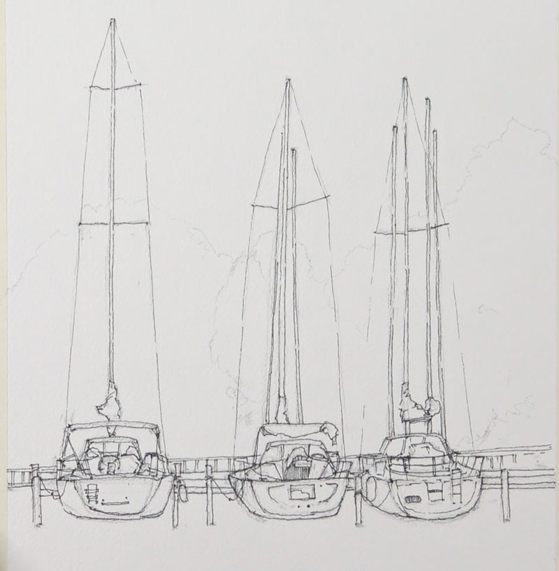 Pen and ink sketch of sailboats