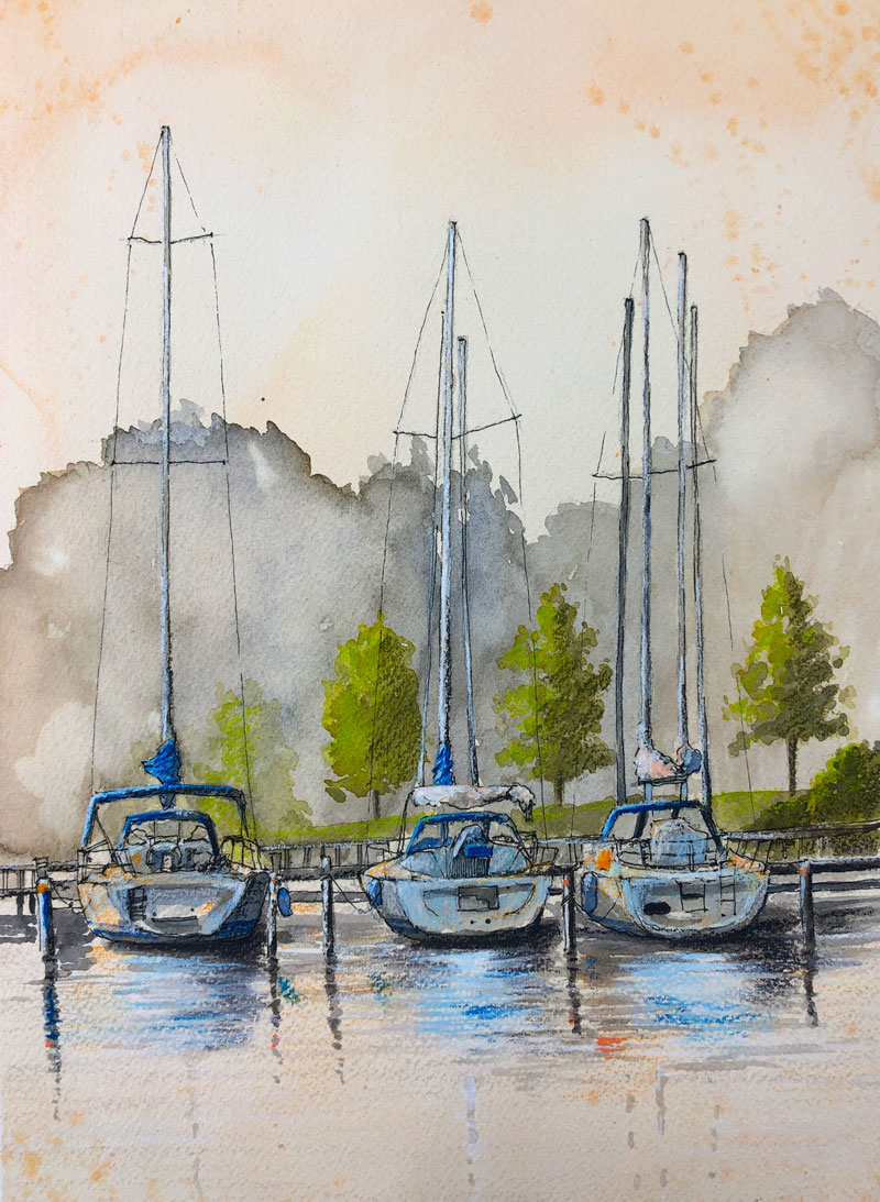 Mixed Media Drawing Painting Sailboats