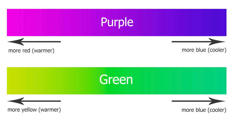 Green and purple transition colors