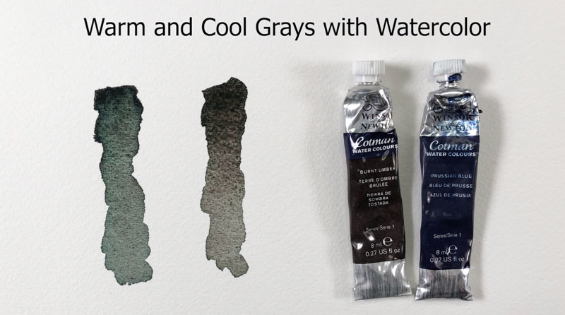 Warm and cool grays with watercolor