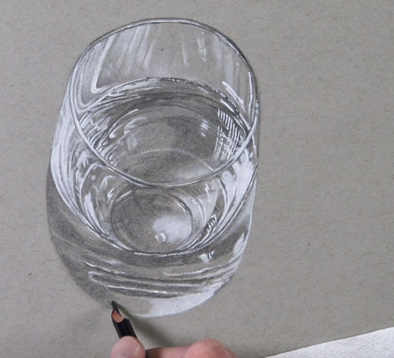 Drawing darker mid tones on the glass and water