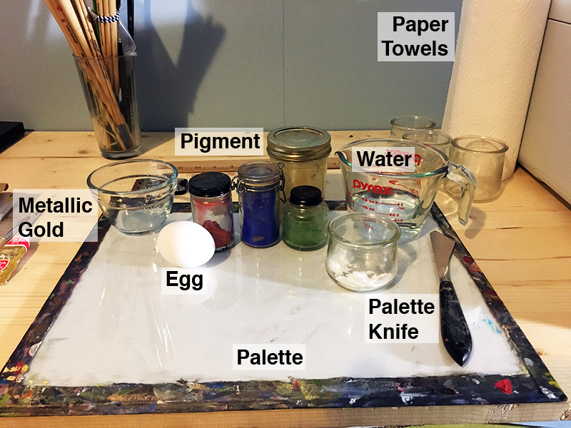 Materials for making egg tempera paint