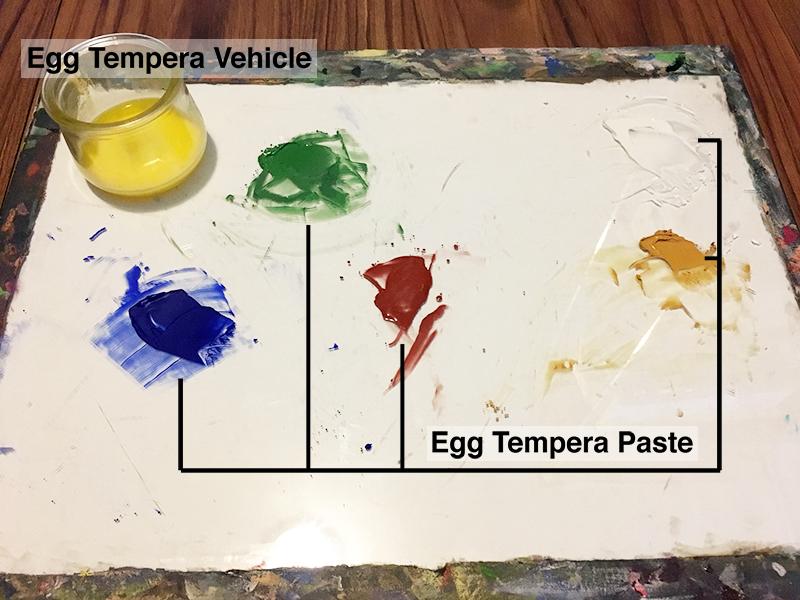 Egg tempera paste on a glass palette