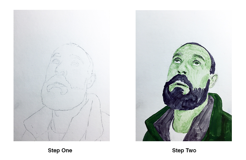 Contour line drawing of the portrait and initial egg tempera applications
