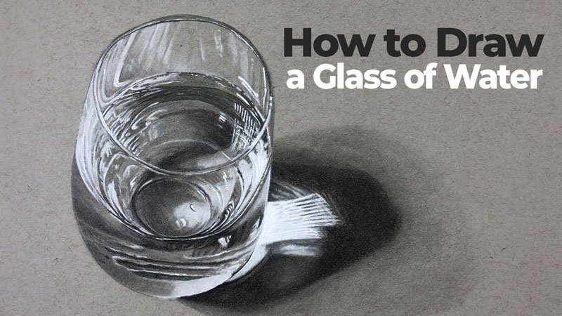 How to draw a glass of water - realistic