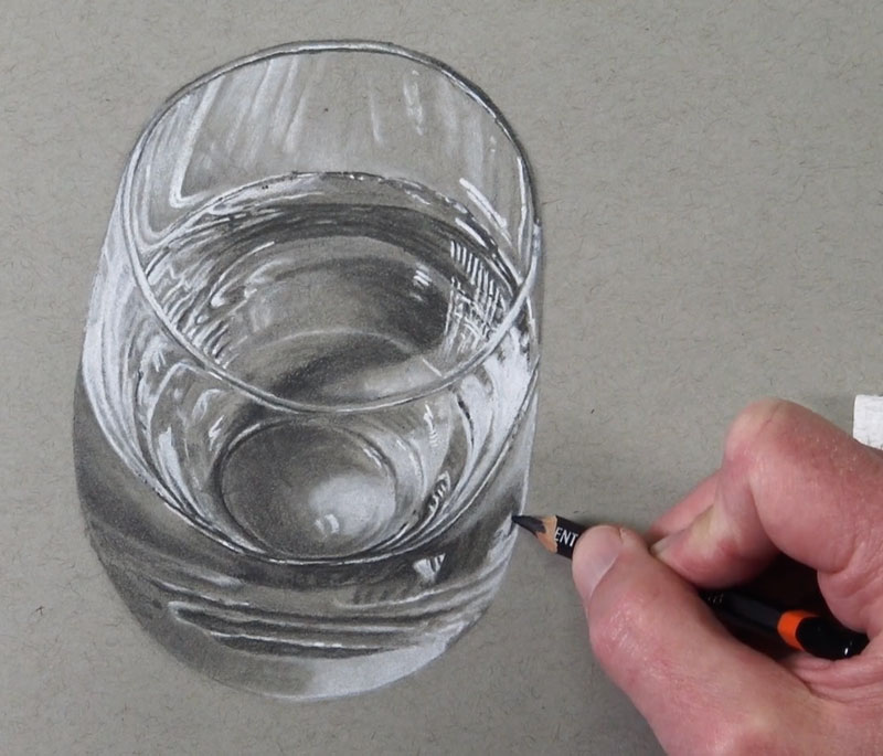 Adding the darkest shadow in the glass
