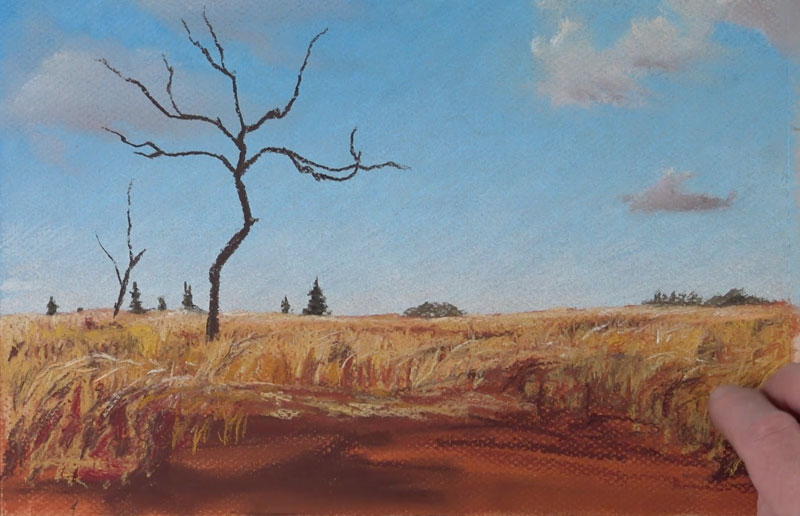 Drawing the middle ground - pastel landscape