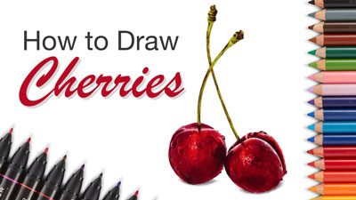 How to Draw Cherries - Markers and Colored Pencils