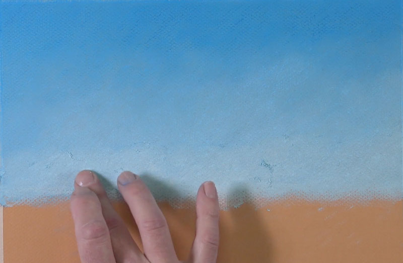 Painting a sky with pastels
