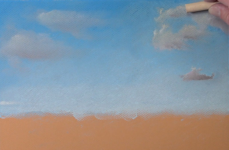 Refining the clouds in the sky with pastels