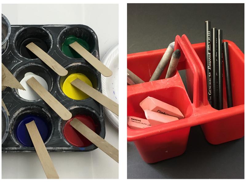 Organized art supplies in a lower level art class