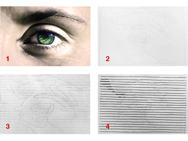 Drawing an eye with hatching using varied line weight step one
