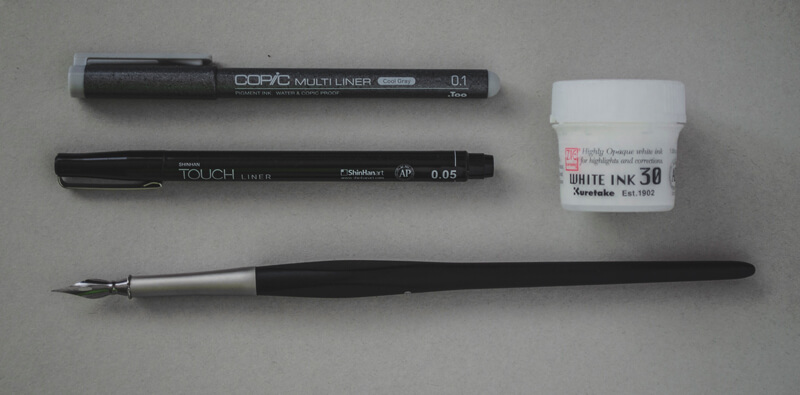 Supplies for drawing with black and white ink