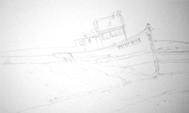 Darkened pencil sketch of the boat